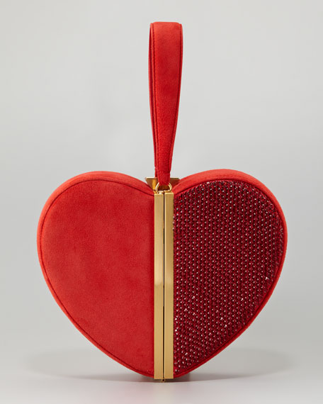 Crystal Heart Box Clutch Bag
