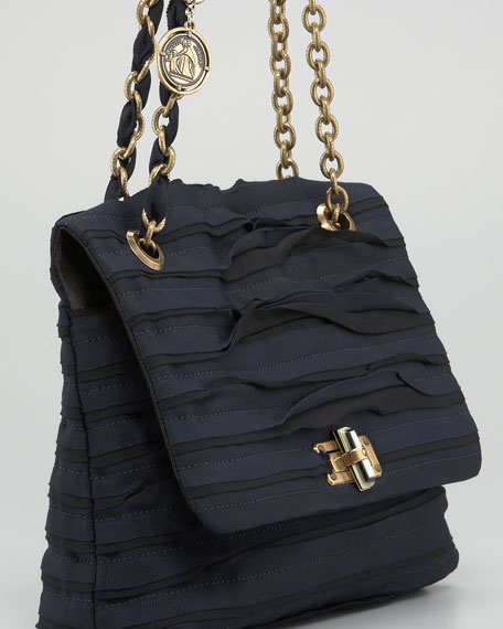 Grosgrain Happy Shoulder Bag, Noir