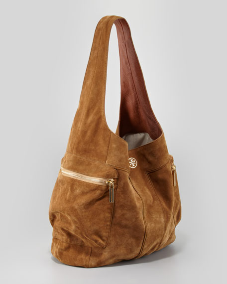 Vintage Motorcycle Suede Hobo Bag