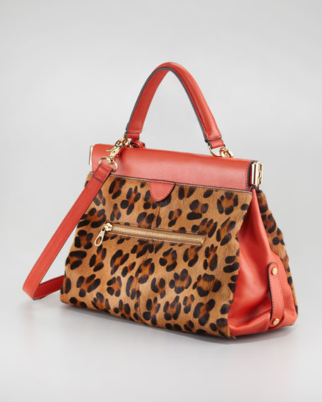 Priscilla Framed Calf Hair Satchel Bag