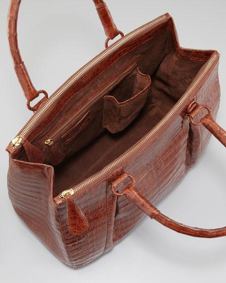 Crocodile Zip-Compartment Tote Bag