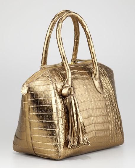 Chain-Tassel Dome Satchel Bag, Small