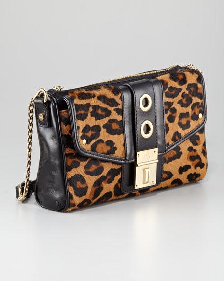 Harper Leopard-Print Calf Hair Shoulder Bag