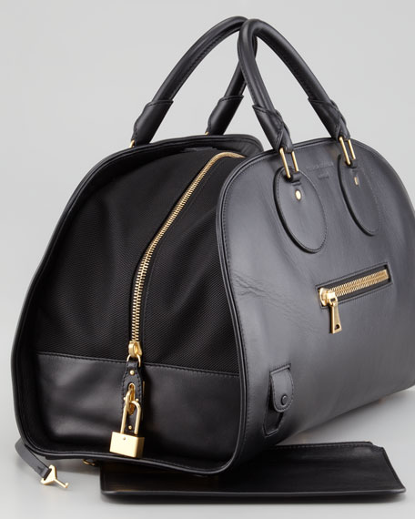 Kiri Leather-Canvas Bowler Bag, Black