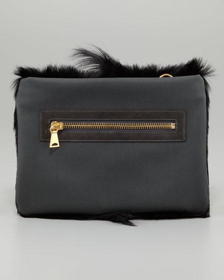 Large Chieko Fur Clutch Bag, Black
