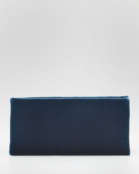 TF Flat Velvet Clutch Bag, Petrol