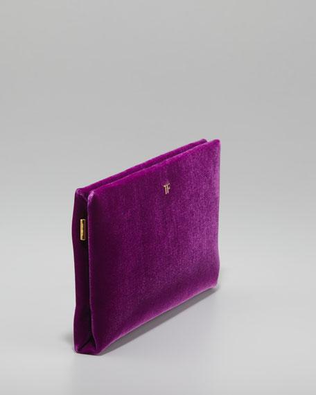 TF Flat Velvet Clutch Bag, Violet