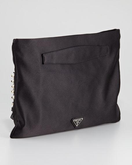 Raso Ricamo Flat Clutch Bag, Black