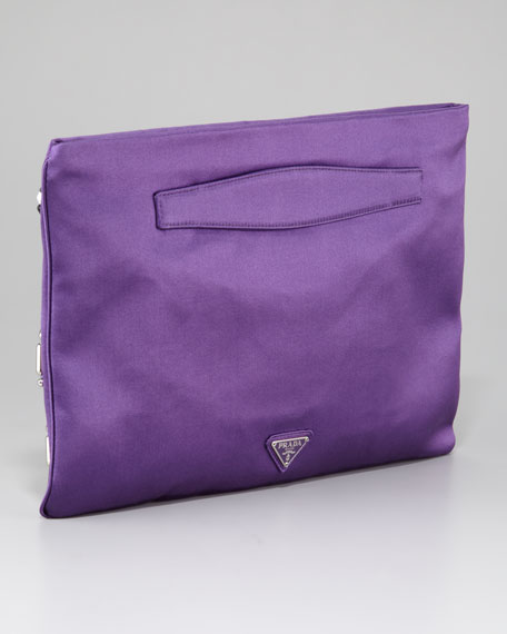 Raso Ricamo Flat Clutch Bag, Viola