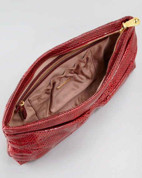 Snakeskin Ruched Flat Clutch Bag