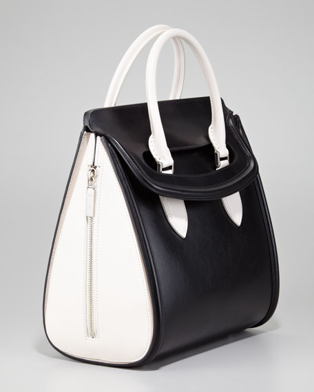 Medium Heroine Bicolor Satchel Bag, Black/Ivory