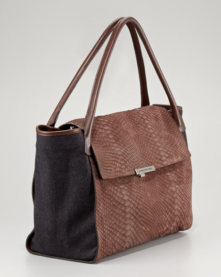 Flap-Front Python-Flannel Satchel Bag