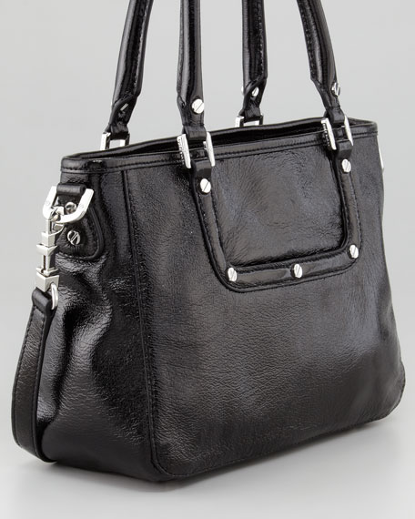 Amanda Crinkled Mini Satchel Bag, Black
