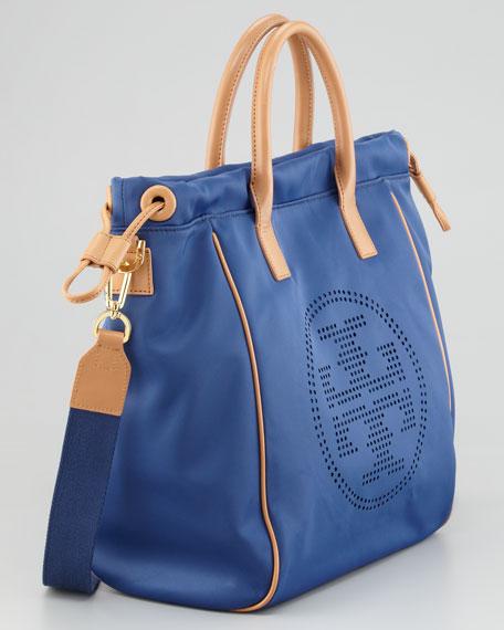 Perforated Logo Small Drawstring Tote Bag, Indigo