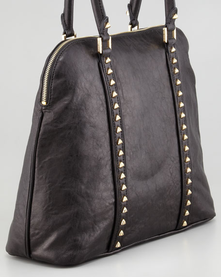 Pyramid Stud Dome Tote Bag, Black