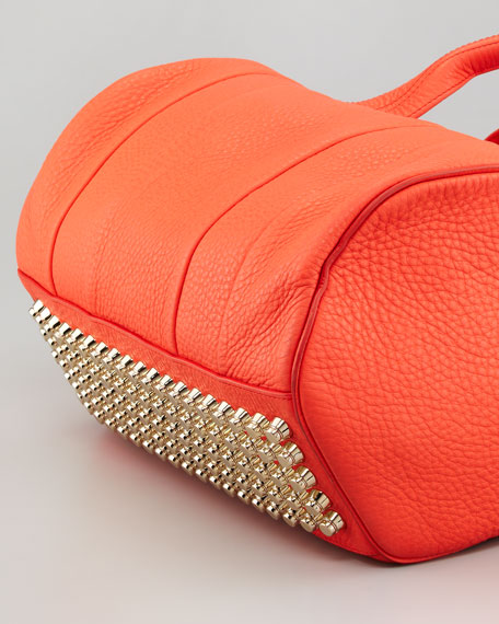 Rocco Stud-Bottom Satchel Duffel Bag, Tangerine/Yellow Golden