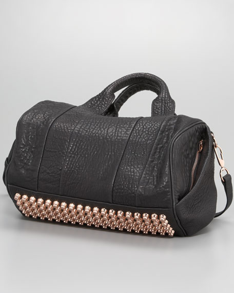 Rocco Stud-Bottom Satchel Duffel Bag, Black/Rose Golden