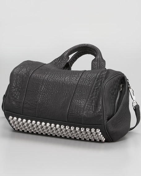Rocco Stud-Bottom Satchel Duffel Bag, Nickel