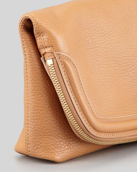 Skull Padlock Fold-Over Clutch Bag, Camel