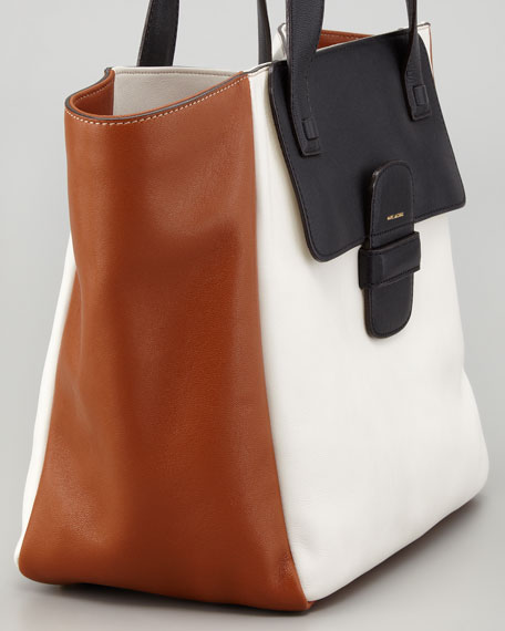 Lambskin Paneled Tote Bag, White/Black/Cognac