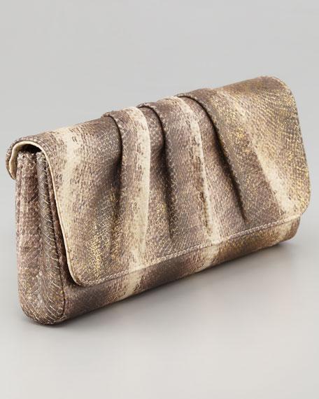 Caroline Metallic Snake-Embossed Clutch Bag