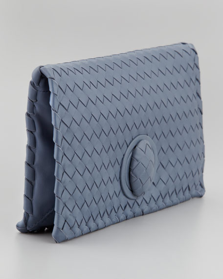 Veneta Turnlock Clutch Bag, Bluee