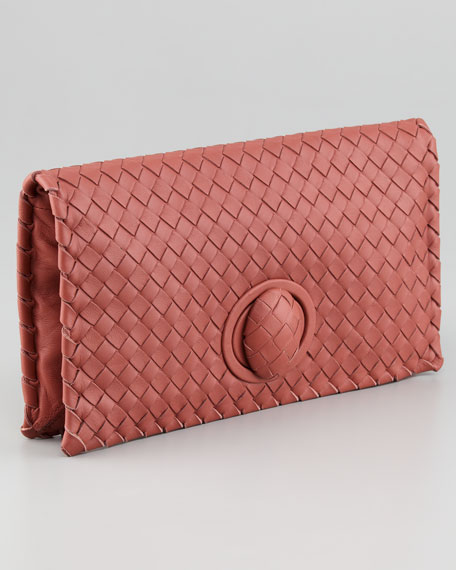Intrecciato Turn-Lock Clutch Bag, Coral