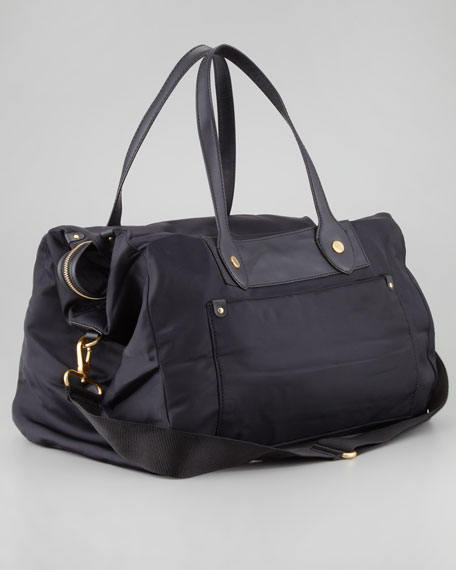 Preppy Nylon Weekender Satchel Bag, Black