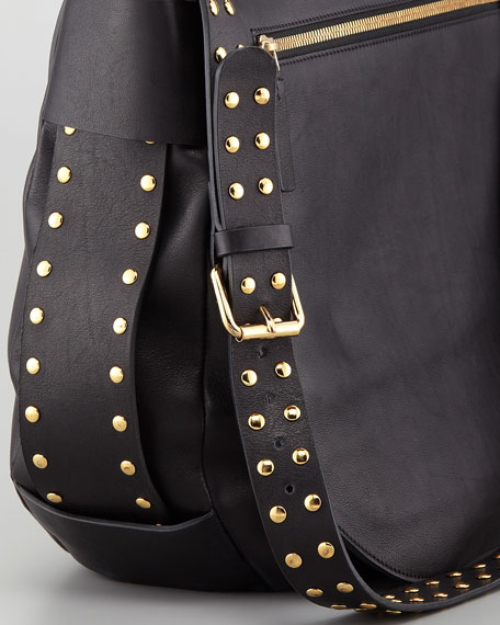 Studded Strap Messenger Bag, Charcoal