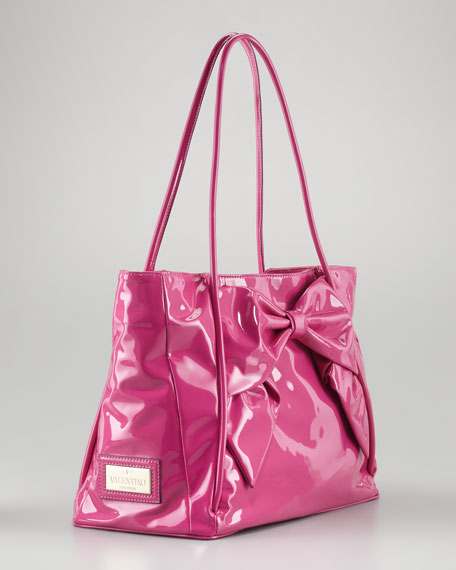 Betty Lacca Bow Tote Bag, Pop Fuchsia