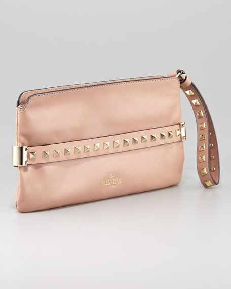 Rockstud Wristlet Clutch Bag, Soft Noisette