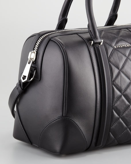 Lucrezia Quilted Medium Satchel Bag, Black