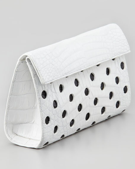 Crocodile Dot Clutch Bag, White