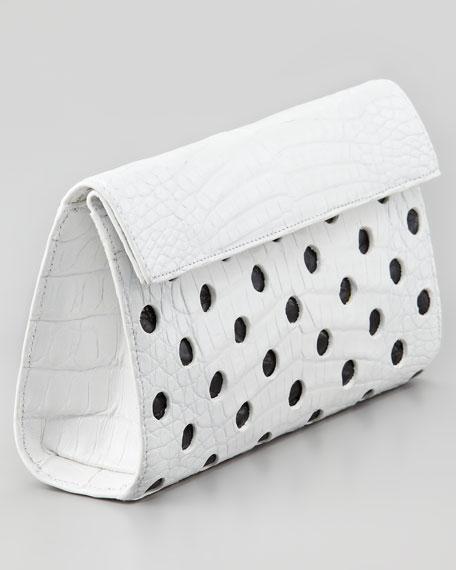 Crocodile Dot Clutch Bag, White