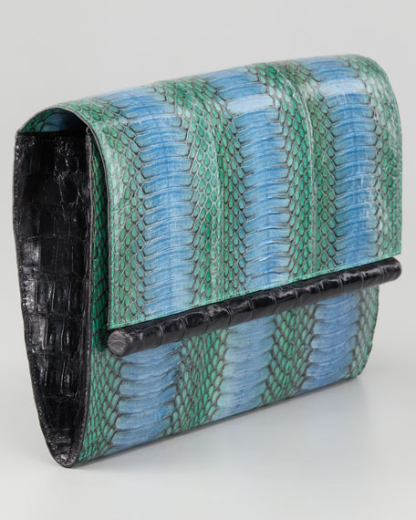 Cobra Clutch Bag, Blue/Black