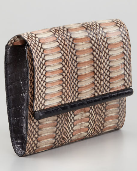 Cobra Clutch Bag, Brown/Black