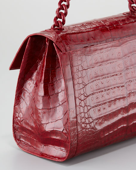 Crocodile Chain Shoulder Bag, Shiny Red