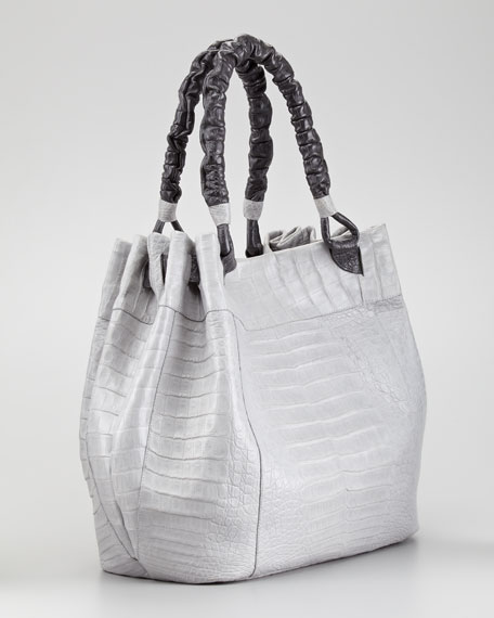 Crocodile Hobo Bag, Light Gray/Dark Gray