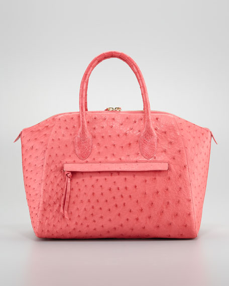 Ostrich/Crocodile Satchel Bag, Pink
