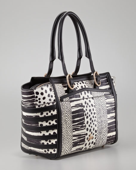 Farida Patchwork Bowler Bag, Black/White