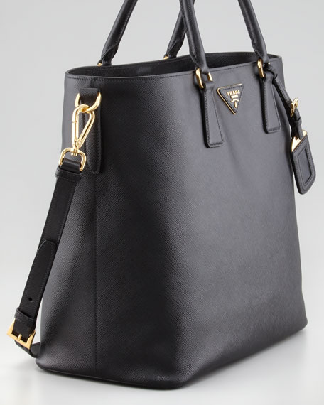 Saffiano Snap-Top Tote Bag, Nero