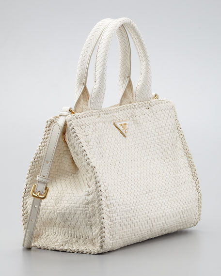 Madras Small Tote Bag, Avorio