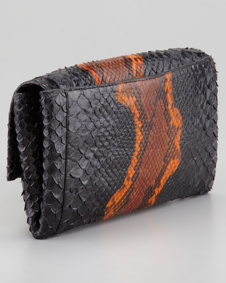 Python Clutch Bag, Orange