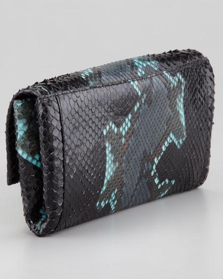 Python Clutch Bag, Aqua