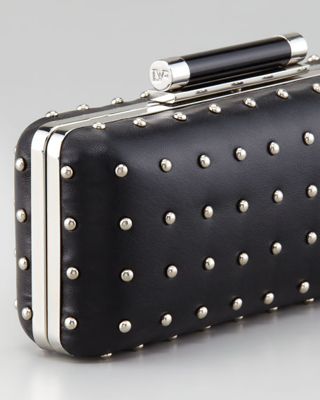 Tonda Studded Leather Clutch Bag, Black
