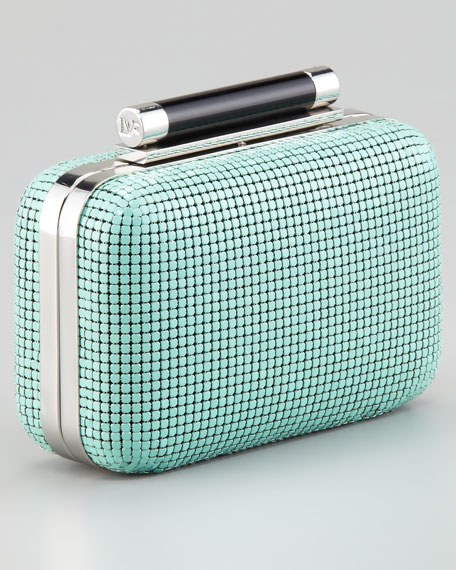 Tonda Small Chain Mail Clutch Bag, Turquoise