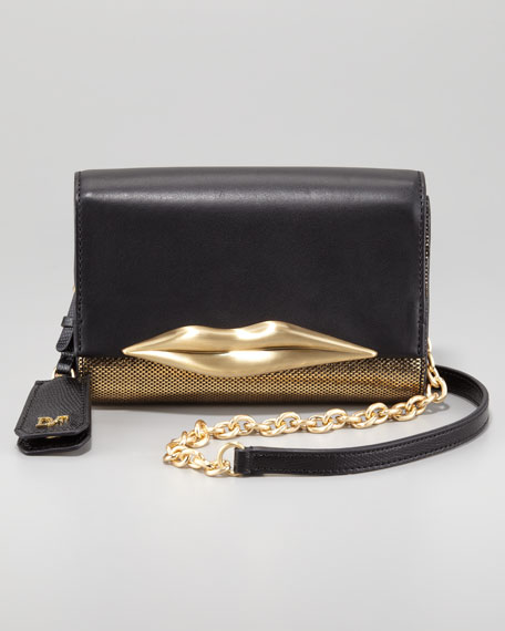 Lips Mini Metallic Clutch, Black/Gold
