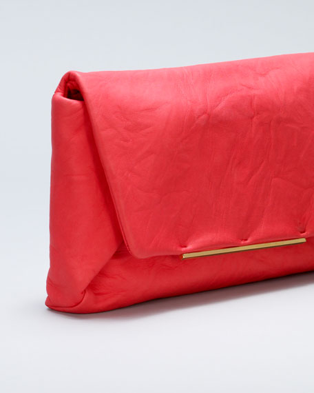 Mai Tai Crinkled Lambskin Clutch, Poppy Red