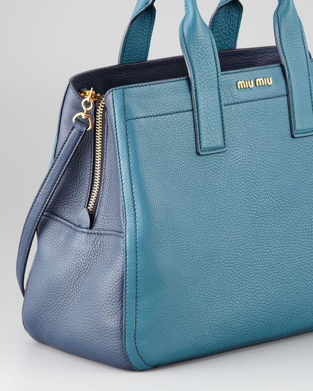 Vitello Bicolore Satchel Bag, Ottanio-Bluette