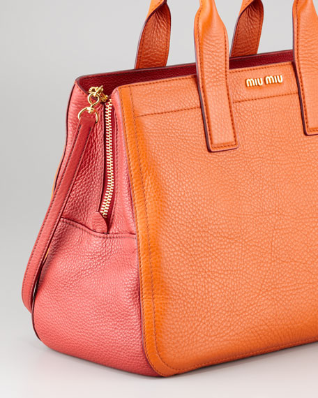 Vitello Bicolore Satchel Bag, Papaya-Rosso